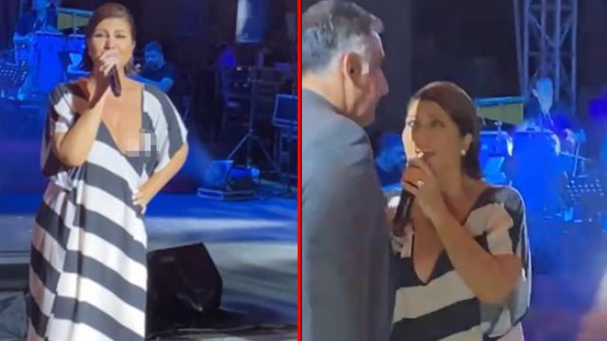 Konserde talihsiz olay! Kıyafetinin azizliğine uğrayan Sibel Can'ın göğsü açıldı