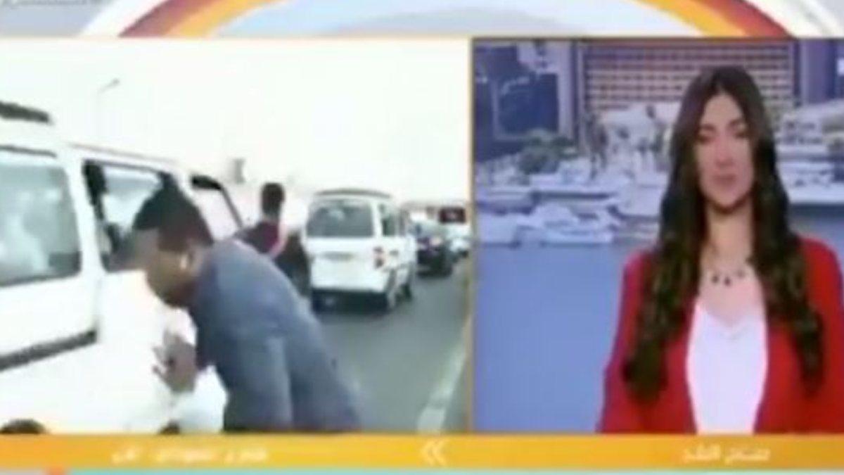Mısır'da muhabire canlı yayında motosiklet çarptı