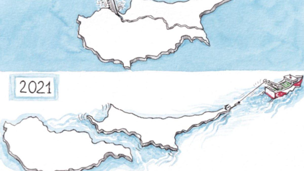 Yunan basınından Kıbrıs adası karikatürü
